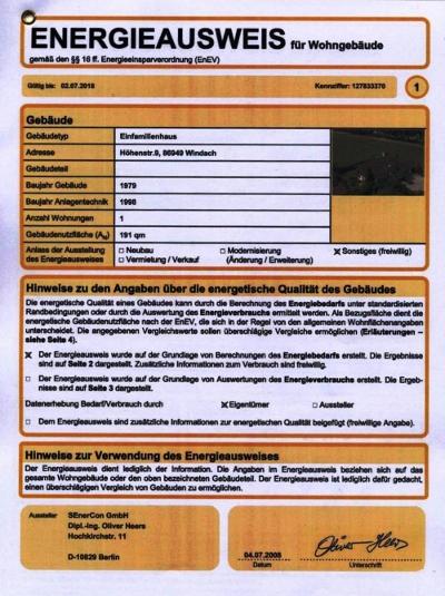 Энергетический паспорт в Германии - пример титульной страницы
