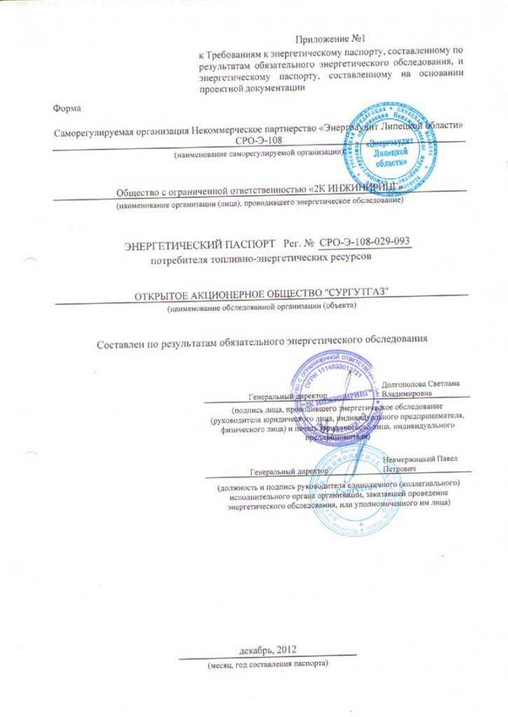 """Срок действия энергетического паспорта ОАО """"Сургутгаз"""""""