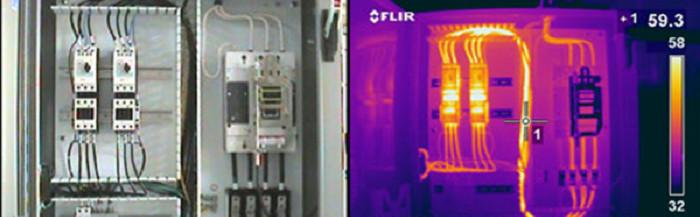 Тепловизионный контроль электрооборудования, контакторов, выключателей, соединений