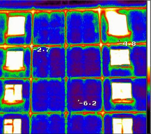 Энергоаудит - тепловизионное обследование зданий - утечка тепла на стыках