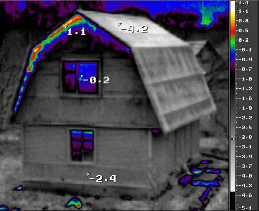 Энергоаудит - тепловизионное обследование зданий - потери под крышей