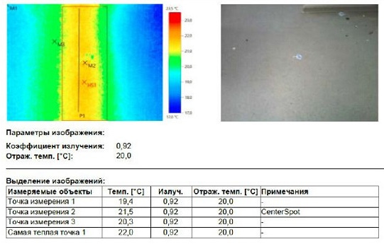 термограмма трубопровода системы отопления