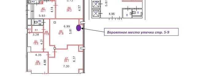 Утечка воды - схема места расположения в офисе