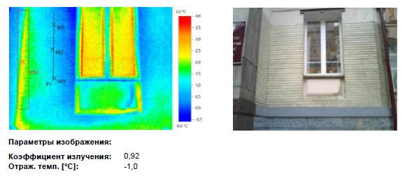 Термограмма окна здания