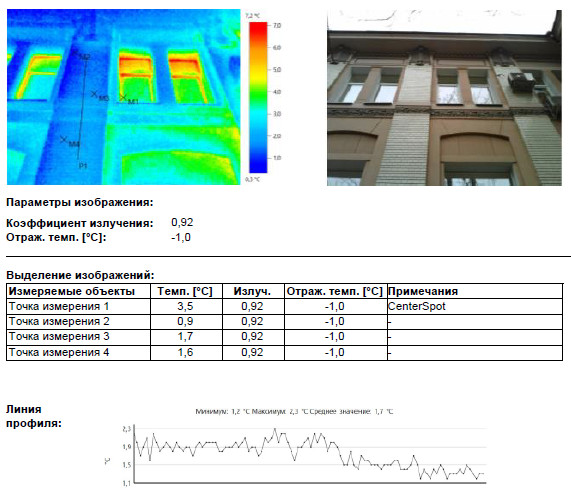 Обследование тепловизором стены Минздрава