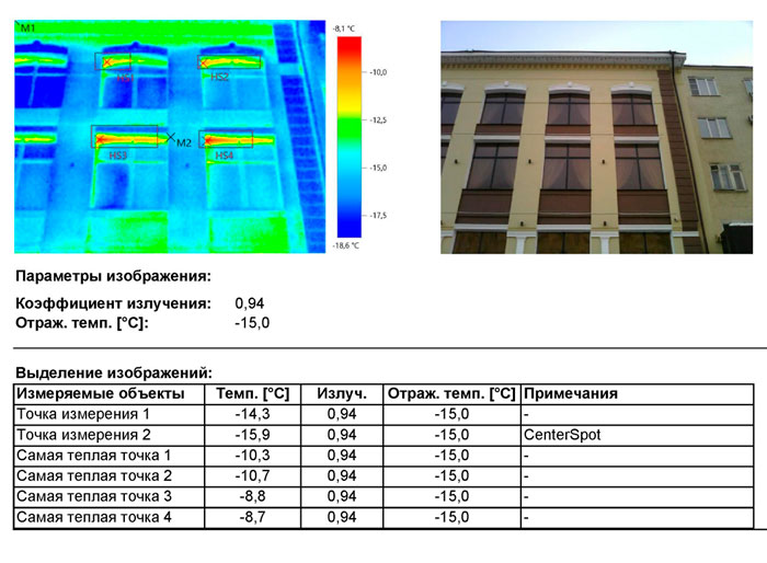 тепловизионное обследование ограждающих конструкций здания в Москве