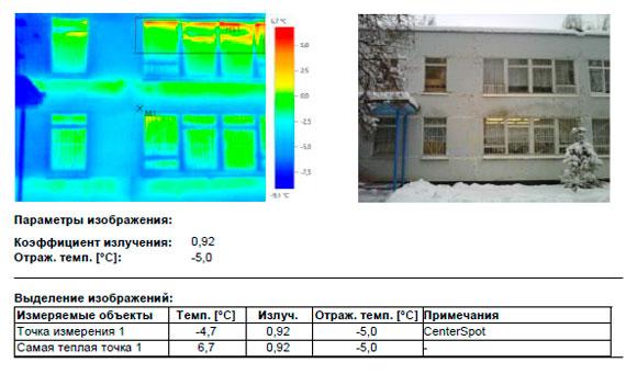 участки эксфильтрации теплого воздуха из внутренних помещений здания