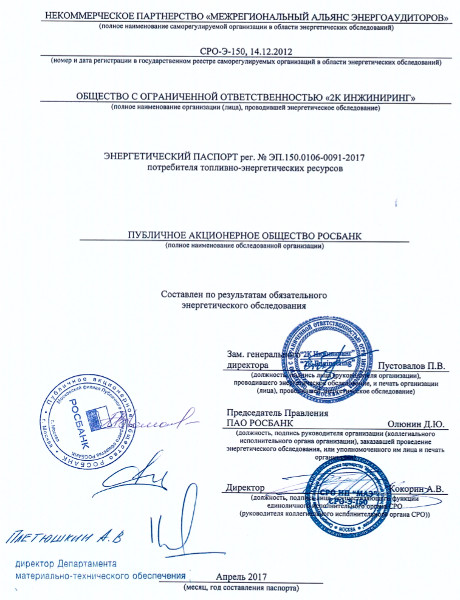 Энергетический паспорт ПАО Росбанк