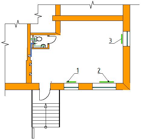 Расчет тепловой нагрузки на отопление офиса. Схема расположения радиаторов отопления 1-го этажа