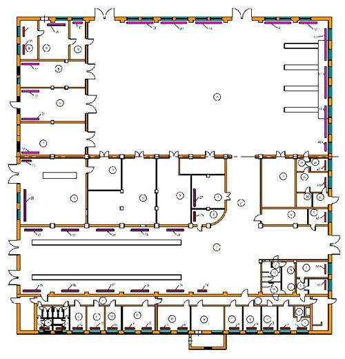 Схема расположения радиаторов отопления 1-го этажа. Расчет тепловой нагрузки на отопление здания.