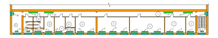 Схема расположения радиаторов отопления 2-го этажа