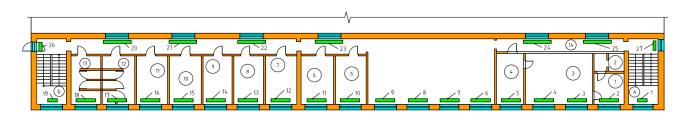 Схема расположения радиаторов отопления 3-го этажа