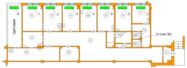 Схема расположения радиаторов отопления 1-го этажа. Расчет часовой тепловой нагрузки