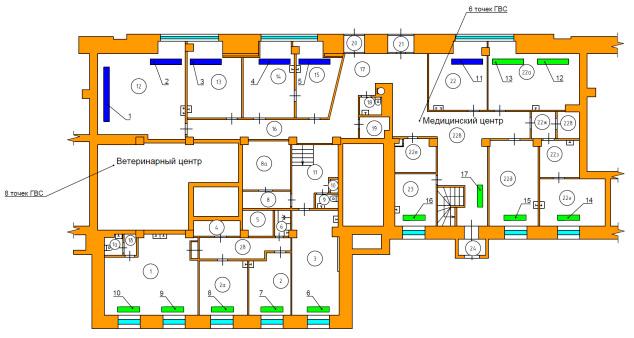 Схема расположения радиаторов отопления 1-го этажа