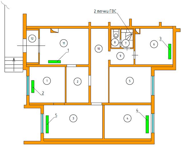 Схема расположения радиаторов отопления. Расчет максимальной тепловой нагрузки
