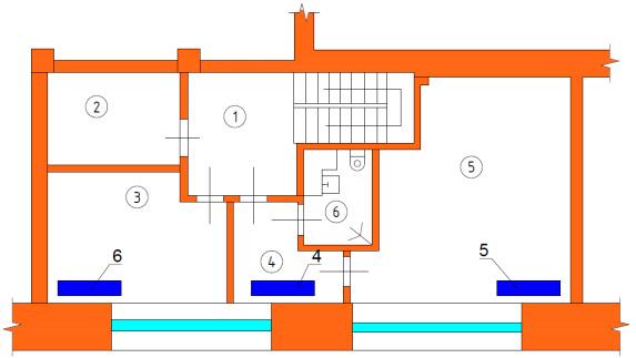Схема расположения радиаторов отопления антресоли 1-го этажа