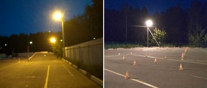 Система наружного освещения закрытой площадки для обучения вождению
